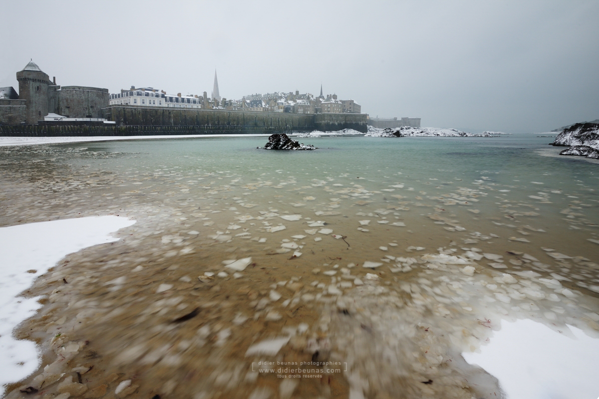 Saint-Malo - Plage de l'eventail sous la neige